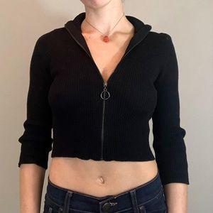 Mid-sleeve Crop Front Zip Top